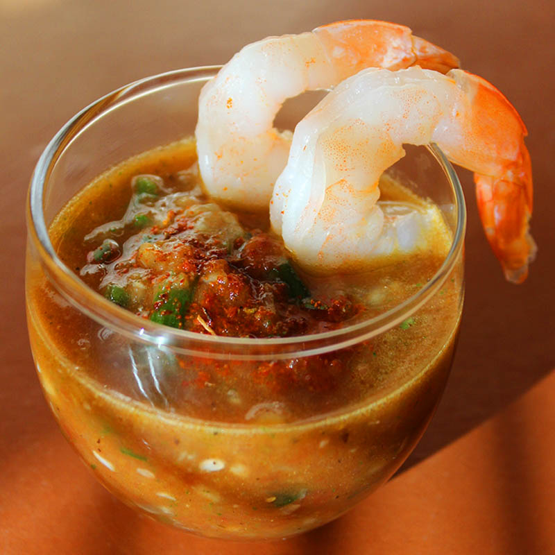 Gazpacho Shooters with Shrimp taken by Southwest Discovered